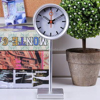 Fashion aluminium table clock with stand