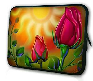 """Rose Flower Red 11.1""""11.6""""12""""12.1""""12.4""""12.6"""" Inch Neoprene Rainproof Laptop Bag Sleeve Case with Hiden Handles Laptop Computer Briefcases for Macbook Air 11.6"""" or Most 12""""12.1""""12.4""""12.6"""" Laptops Computers Laptop Bag for Women Girl"""