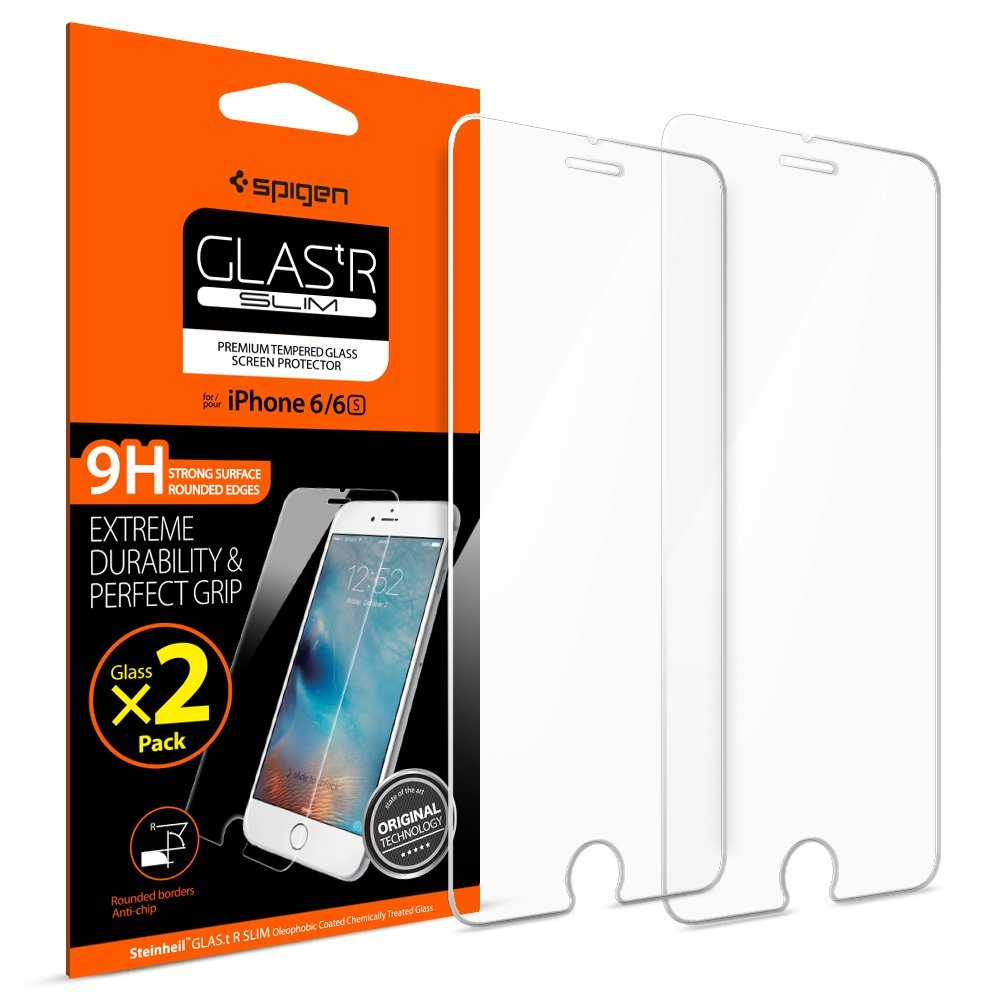 97ae528f46 Get Quotations · Spigen iPhone 6s 6 Screen Protector Tempered Glass / 2  Pack / Case Friendly for Apple
