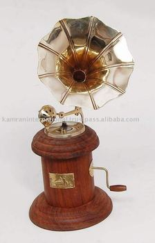 Small Wooden Gramophone Miniature Gifts Antique