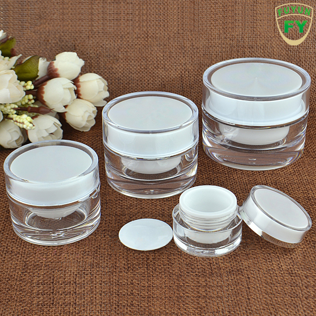 China supplier cosmetic packaging 5g 10g 20g 30g double wall luxury plastic ps lotion cream jar