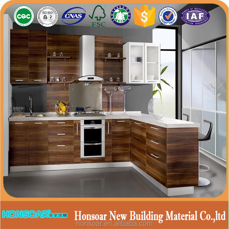 melamine slotted mdf board with aluminium kitchen cabinet