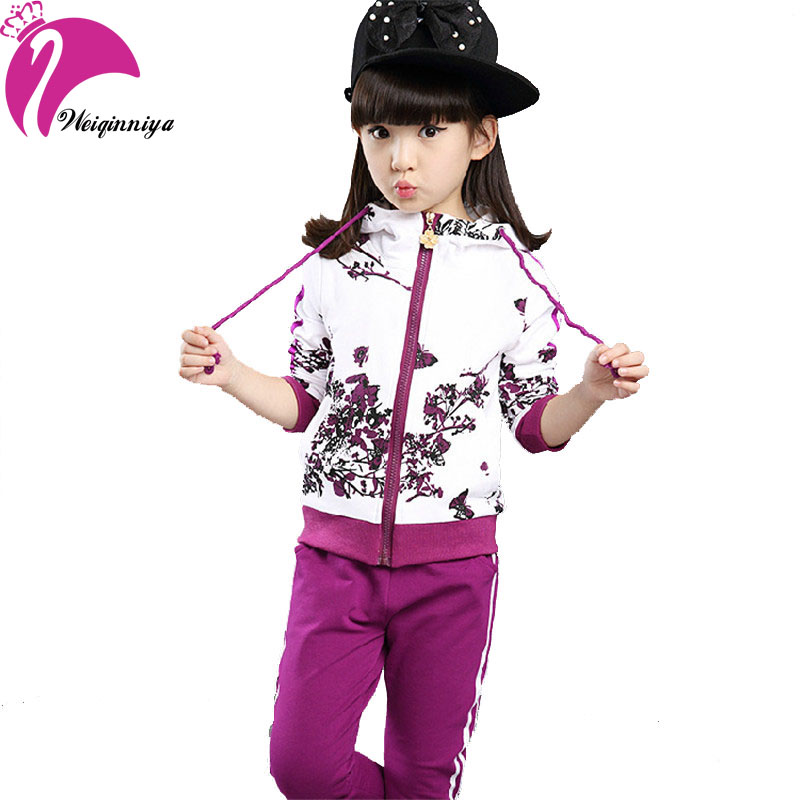 New Brand 2016 Baby Girls Sets Cotton Spring Autumn Fashion Foral Print Sports 2 Pieces Long