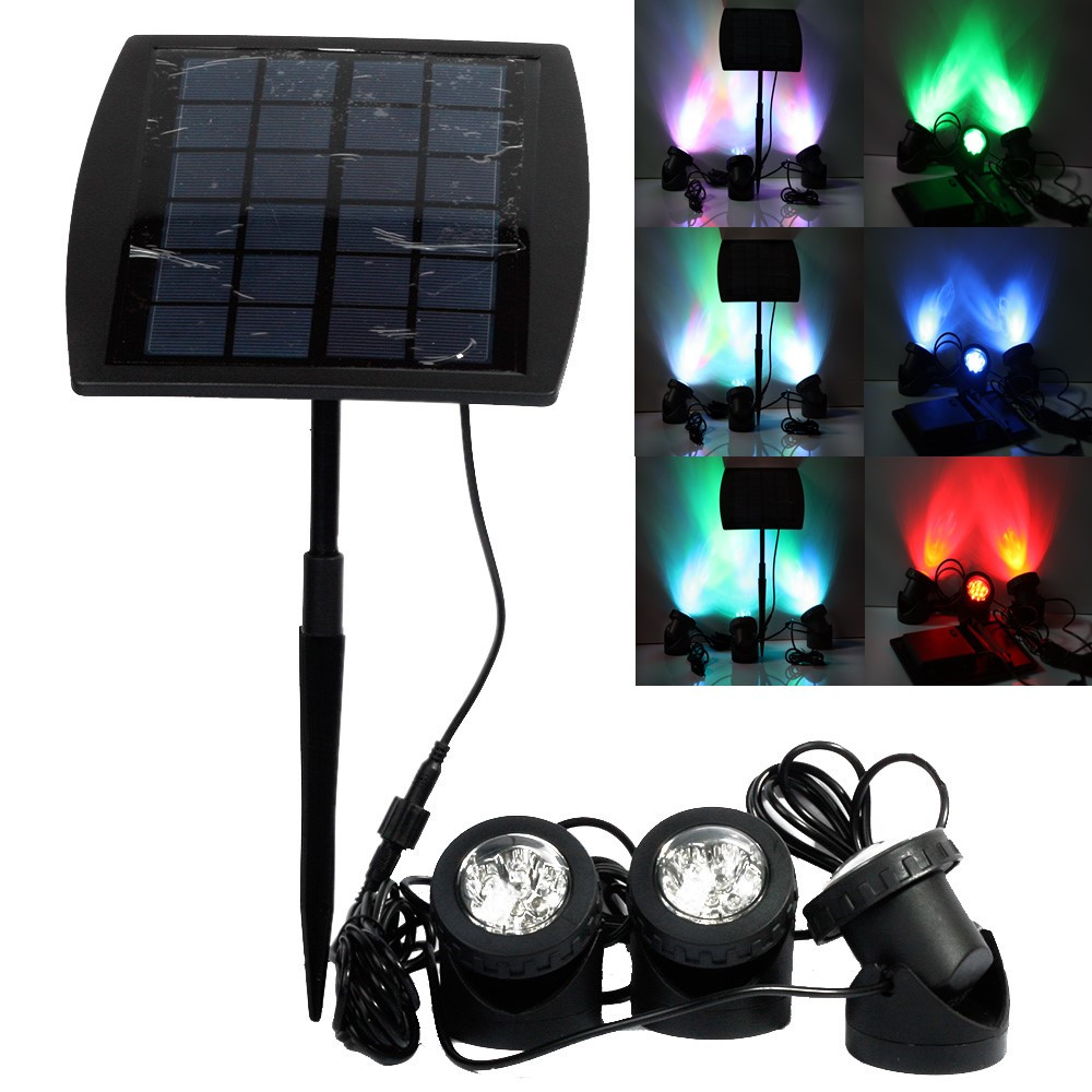 Portable Outdoor Solar Power LED Spotlight RGB/Cold White