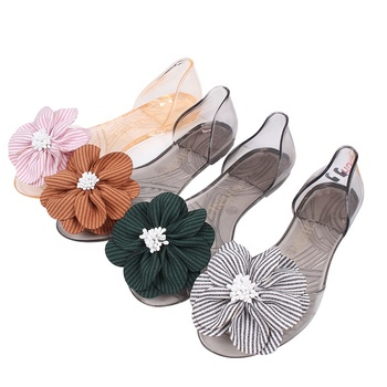 Mini HeLiSha flat shoes women casual jelly sandals with colorful flower upper for ladies