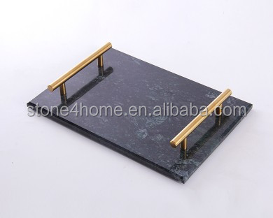Marble serving tray natural stone plate marble plate with gold handle jewelry storage plate to door price