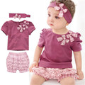 girls children short sleeve kids sets baby suits the present fashion casual cotton prints bowknot soft