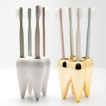 Gold and white tooth shape toothbrush stand holder ceramic toothbrush holder