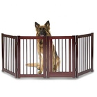 Wooden Freestanding Foldable Pet Gate Dogs 24 inch 4 Panel Step Over Fence The House Doorway Dog Stairs Gate Extra Wide