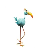 Large outdoor shining bird statues in metal garden decoration