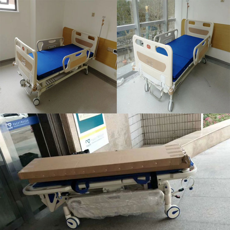 Hot Sale Adjustable ABS Double shake Nursing Manual Hospital Bed Steel Iron pediatric Home Care hospital bed with 2 Crank