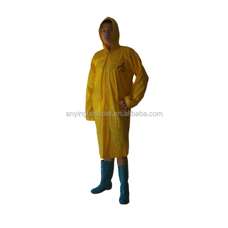 Yellow PVC raincoat with printing LOGO