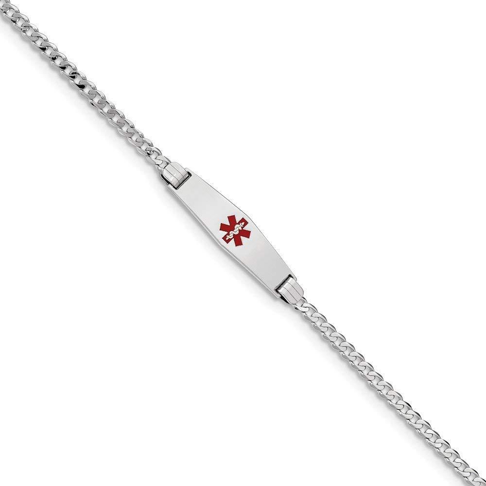Best Birthday Gift 14K WG Medical Soft Diamond Shape Red Enamel Flat Curb Link ID Bracelet
