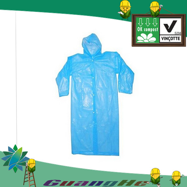 100% biodegradable disposable plastic raincoat,lightweight rainwear