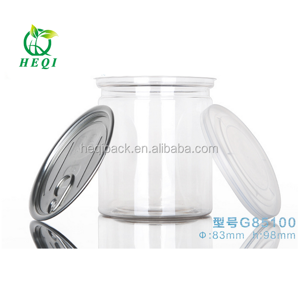Factory sales Food grade 160z ring-pull tin can PET clear can with ring-pull