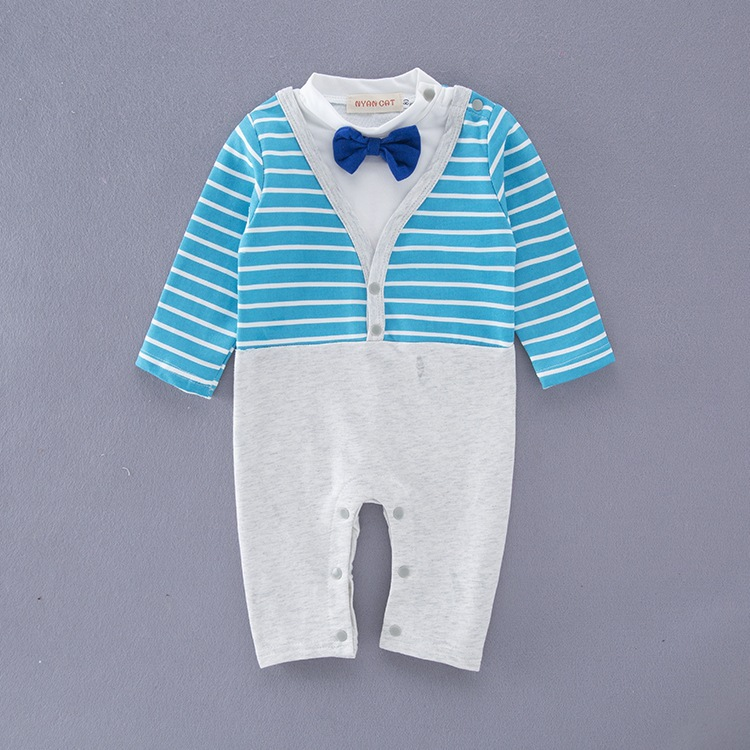 2019 Hot Style Autumn Baby Boy Dresses Boy Gentlemen's Clothes Long Sleeve  Stripe Bow Tie Rompers - Buy 2019 Hot Style Autumn Baby Boy Dresses,Boy