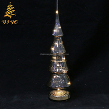 glass lamp shaped dome with led christmas tree ornaments