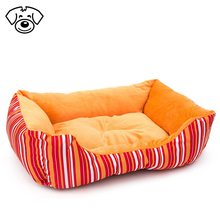 Modern soft plush pet cushion crate sofa bed for cat dog mixed color orange stripes