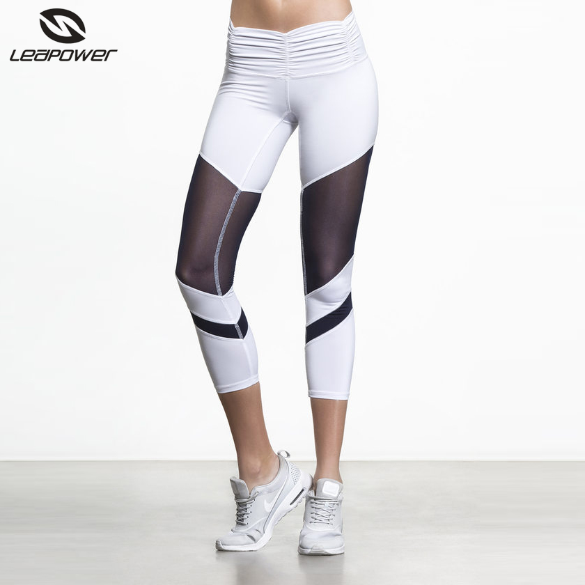 High quality compression women gym running pants mesh white yoga capris for women