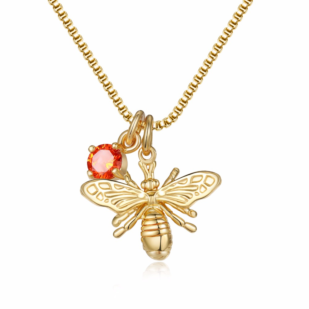 DUOYING Unique Products 2018 Gold Bee Charm Horn Jewelry Birthstone Necklace with Brass Bee Pendant Necklace for Etsy