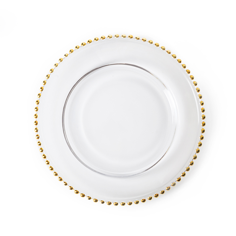 HOSEN 28 Newest Gold Clear Glass Charger 12.6 Inch Dinner Plate With Beaded Rim ~