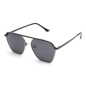 2019 Wholesale China Golden Black Metal Frame Polygon High Bridge Flat Top Sunglasses