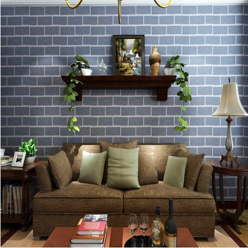 New Arrival Modern Design 3D Effect Natural Embossed Stone Brick Tile Vinyl Wall Sticker Wallpaper TV Mural DIY Art Home Decor