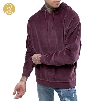 7a17dfe9 New Coming Long Sleeve Burgundy Oversized Men Hooded Velour Sweatshirt