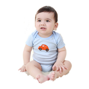 2018 Hot Sale Embroidered Blue 100% Cotton Summer New Born Baby Boys Clothes Romper