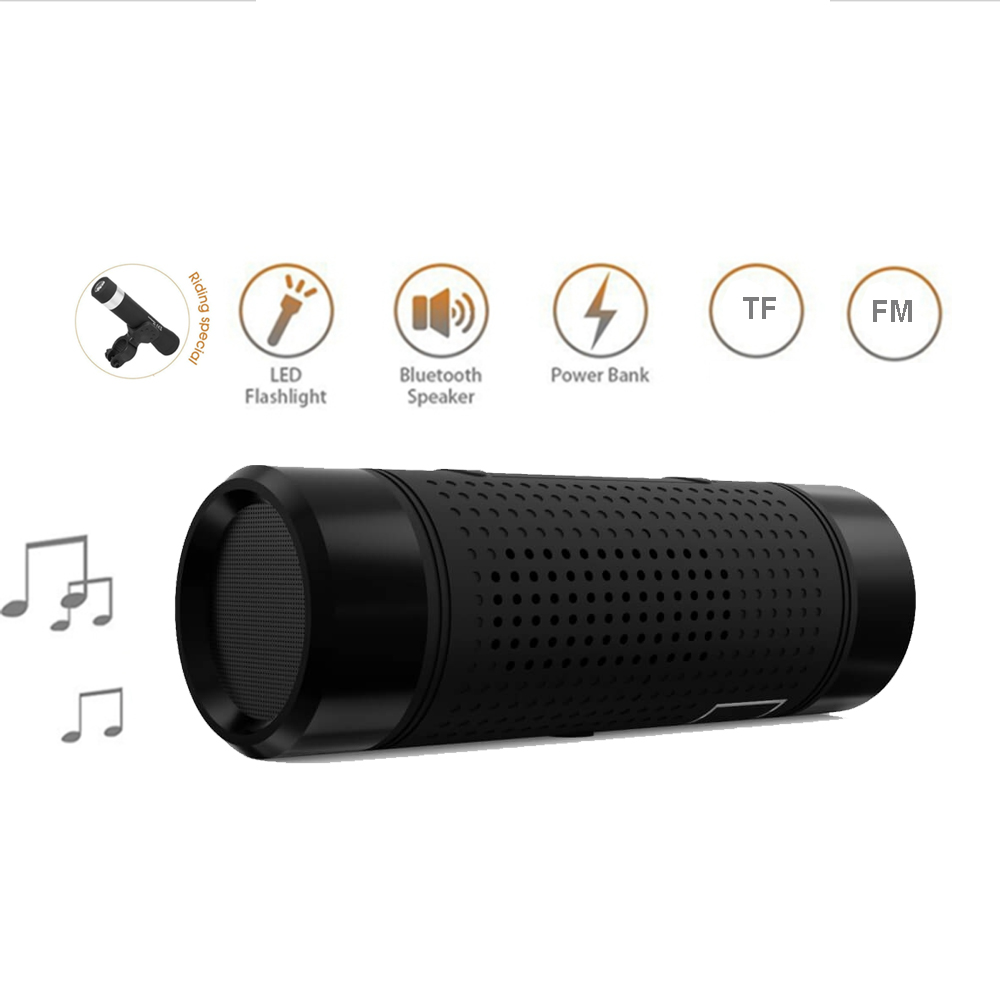 Portable Bluetooth Bicycle Speaker Power Bank Flashlight Waterproof FM  TF AUX