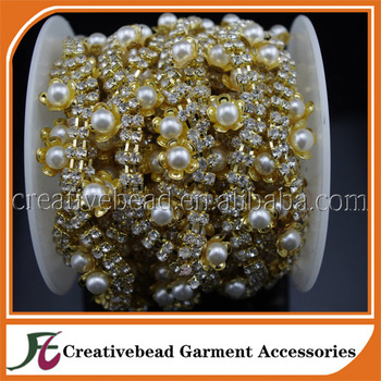 2 Rows 3mm Clear Crystal and Pearl Rhinestone Flower Close Trims Gold Cup  Chain Wedding Cake 14fc241512b7