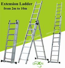 triple folding extension aluminum ladder flexible 6m 7m 8m 10m different size foldable aluminum stair as seen on TV