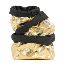Convenient Heavy Kraft Paper Gold color Storage Bags Laundry Bag Toys Clothes Organizer Tool bag