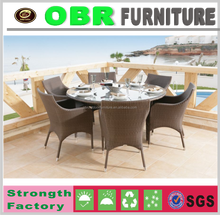2017 outdoor large size 6 seat round garden dining set