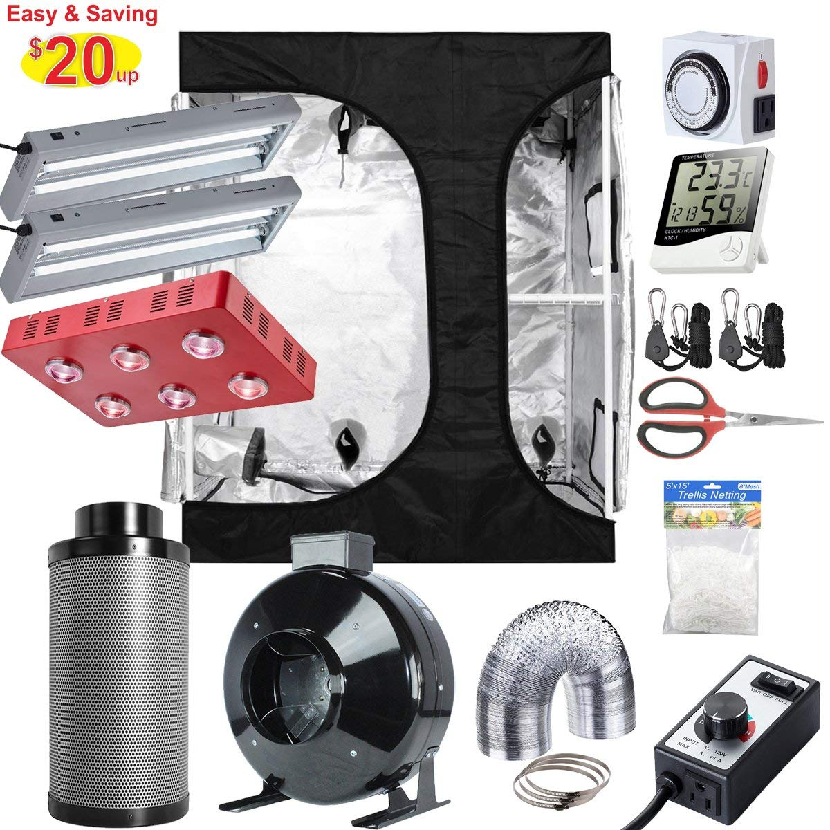 """Hydro Plus 60""""x48""""x80"""" 2-in-1 Grow Tent Complete Kit + LED 1200W Grow Light Kit + 2X 2FT 24W 2-Lamp T5 Light + 6"""" Filter Ventilation Kit + Hydroponics Indoor Growing Accessories (LED 1200W Kit)"""