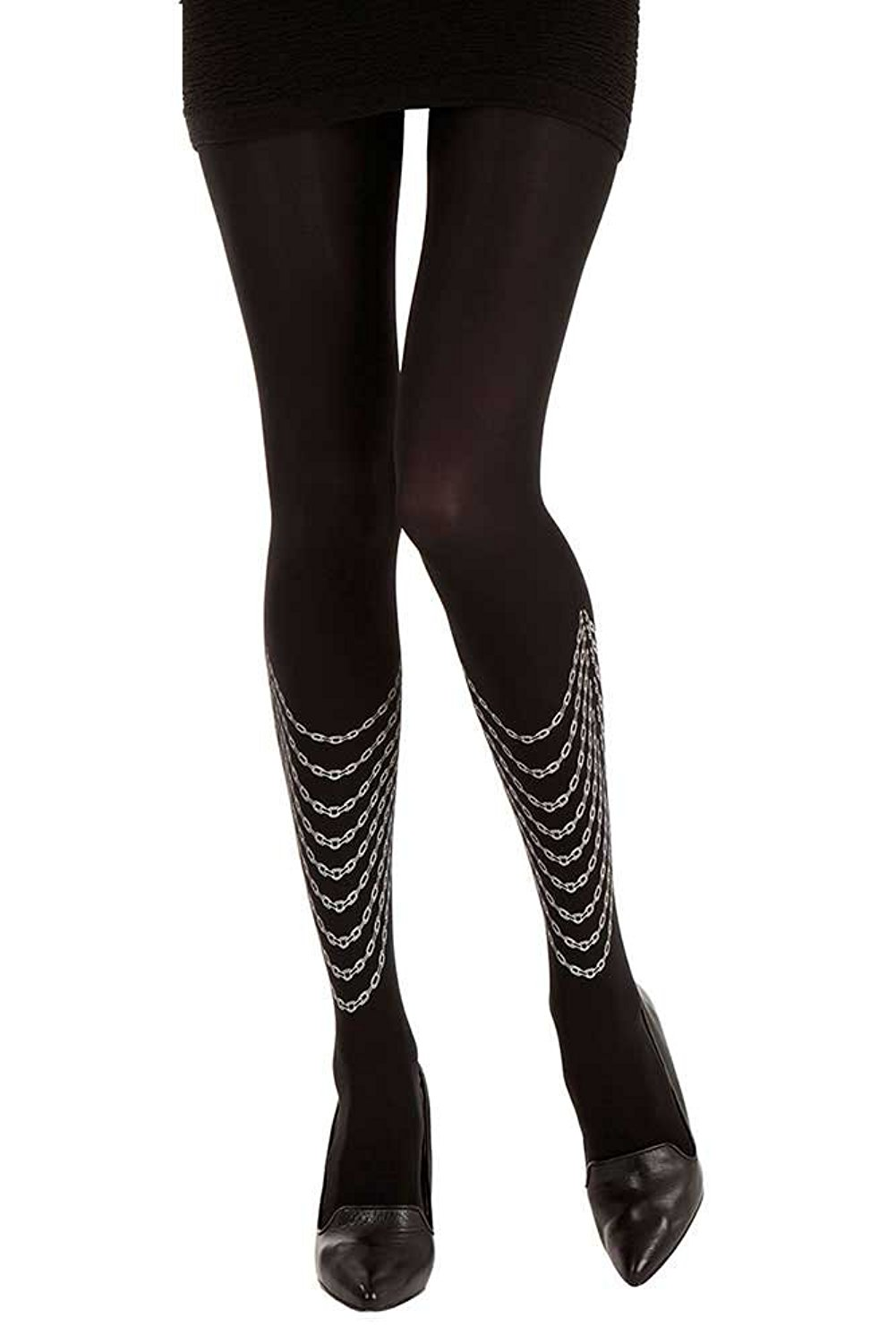 e7373596a Get Quotations · Loops Necklace Printed Tattoo Tights Black   Silver Opaque  by Zohara Tights