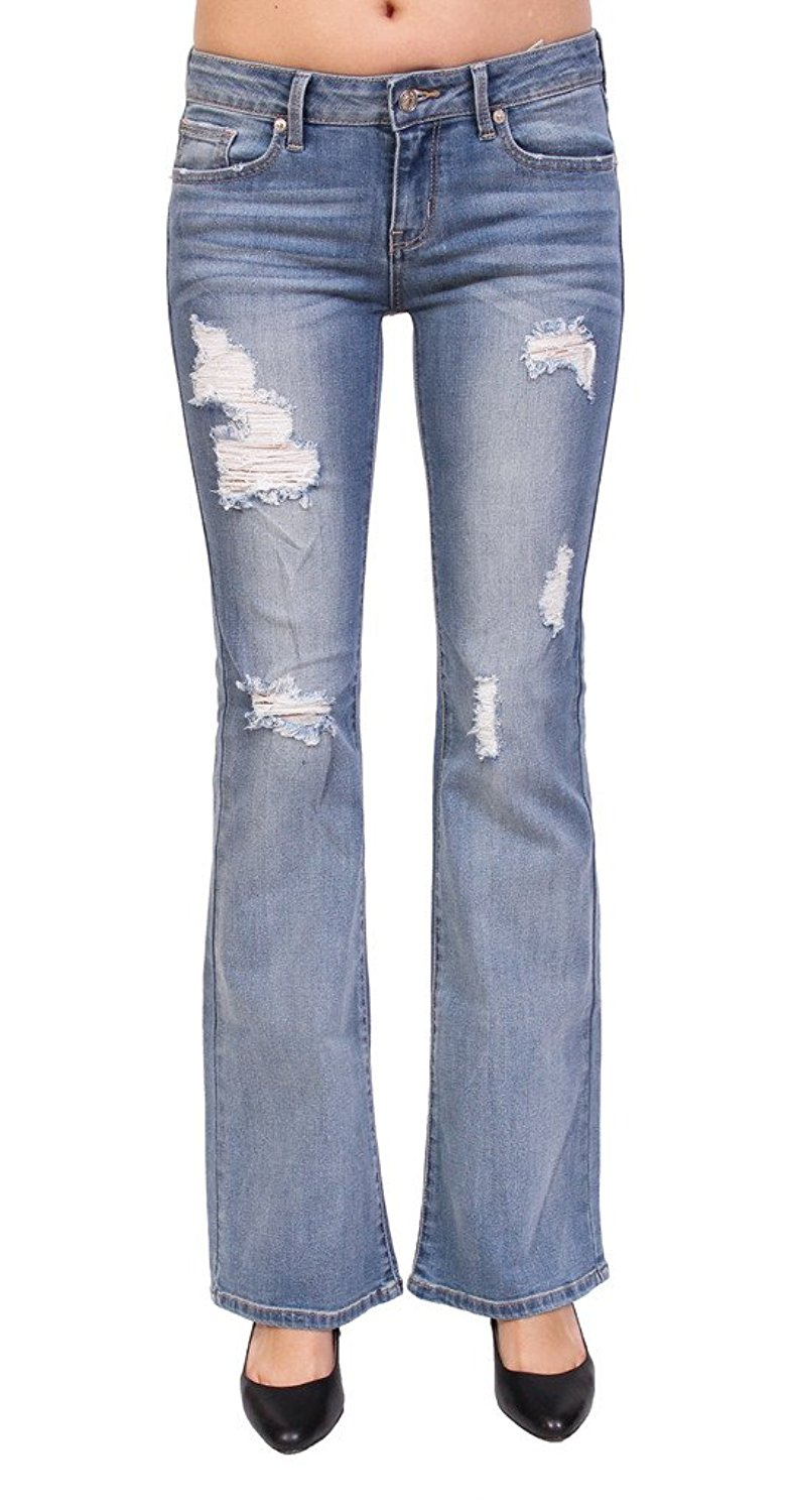 3798412b Get Quotations · Just USA Jeans Women High Rise Distressed Flare Jeans