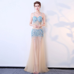 Luxury Beads Evening Dresses Long Gown 2018 Sexy Spaghetti Straps Crystal Tulle Champagne Party Prom Gowns
