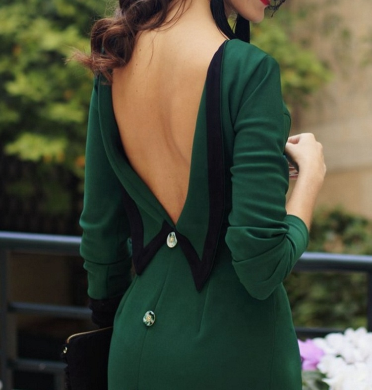 #1025 Elegant Green Backless Simple Cut Ladies Night Party Wear Real Picture Cheap