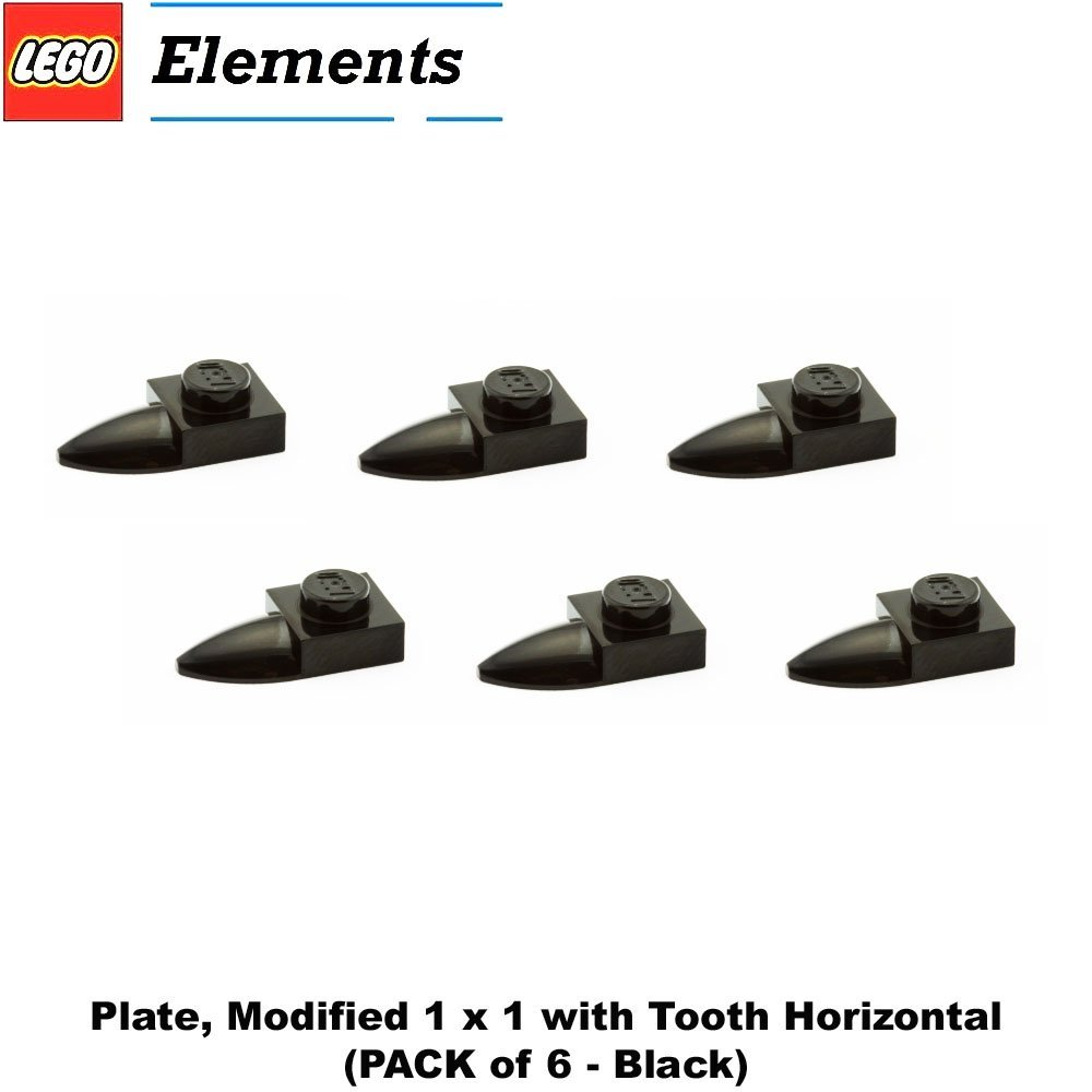 Lego Parts: Plate, Modified 1 x 1 with Tooth Horizontal (PACK of 6 - Black)