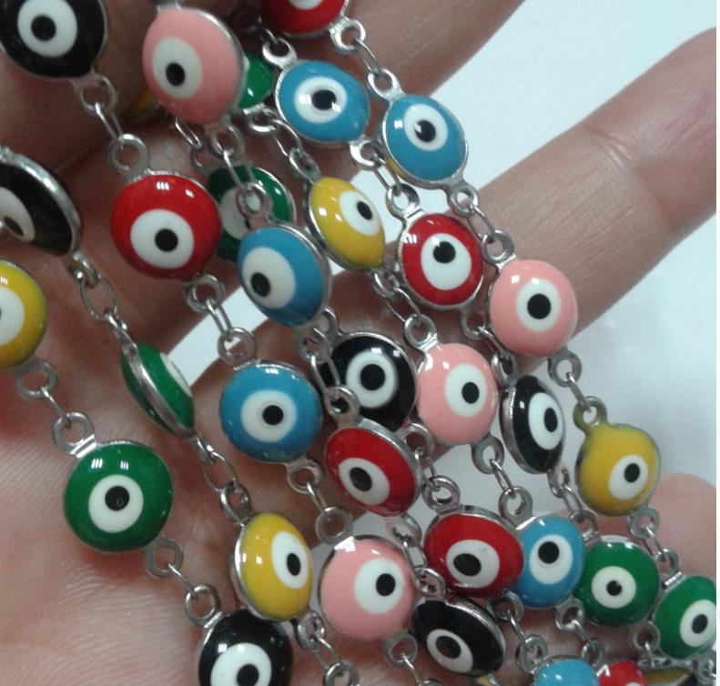 Diameter 6mmor 8mm, Customized Length Fashion Stainless Steel Turkish Stylish Blue Evil Demo Eyes Hamsha Chain Bracelet Necklace