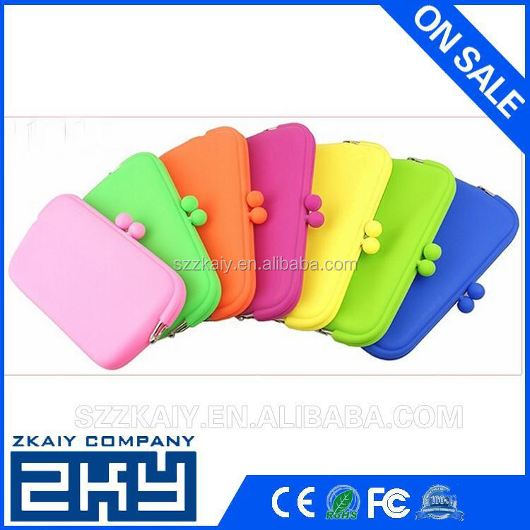 SZZKAIY-0078 Candy Color Silicone Cosmetic Bag Silicone Purse Cute Silicone Coin Wallet For Lady