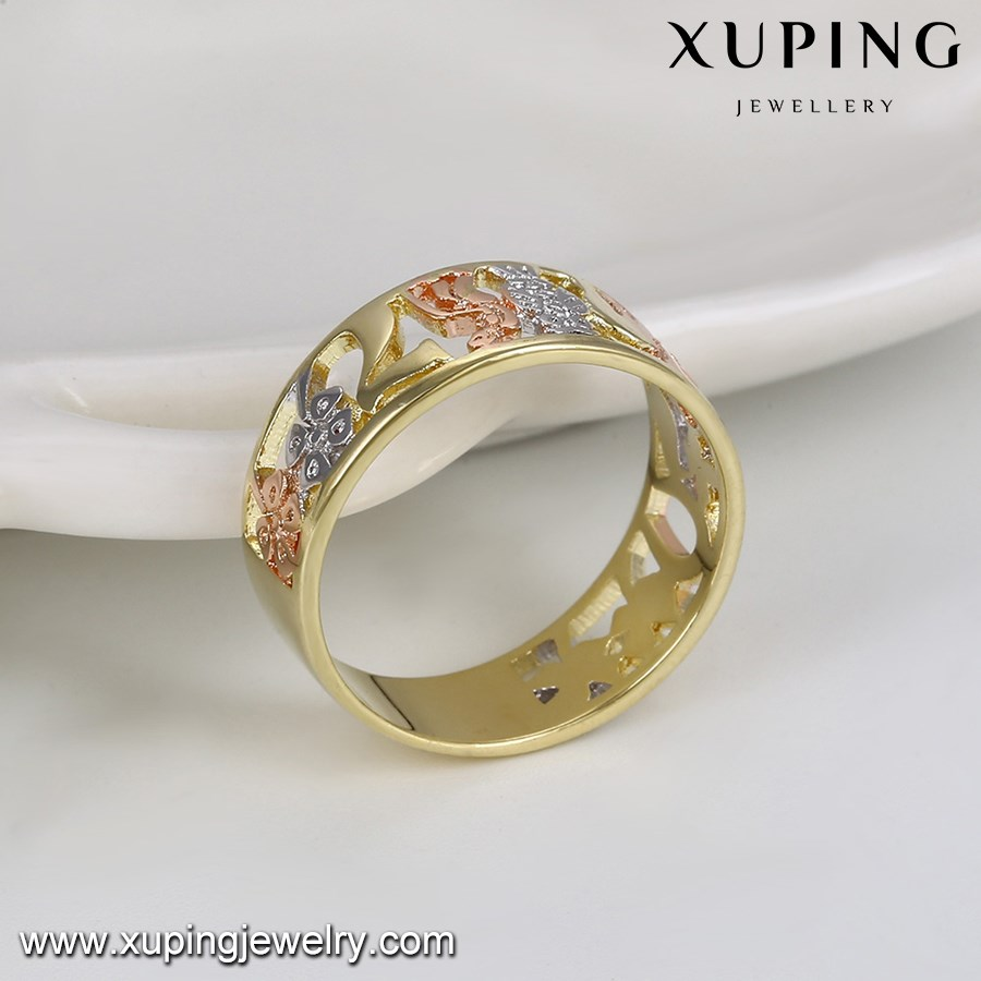 14078 Three Color Fake Gold Finger Rings Without Stones Women ...