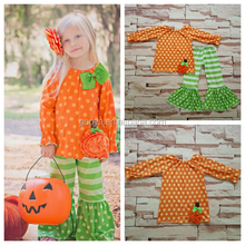 persnickety halloween clothing pumpkin boutique fall set orange polka dots long sleeves top match striped smocked ruffle pants