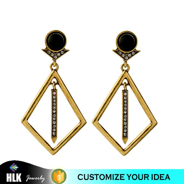 Imitation Jewelry Ahmedabad Diamond Pierced City Gold Plated Jewelry Online Shopping Thin Bar Dimensional Earrings
