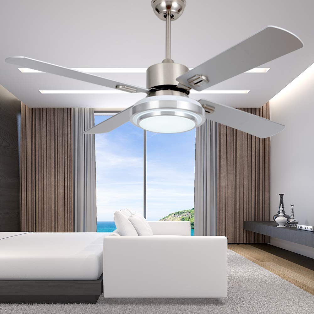 RainierLight Modern Stainless Steel Ceiling Fan Lamp Remote Control /3 Speed/Led 3 Color Light/Quiet Reversible Motor 4 Wood Blades Home Decoration 42 inch