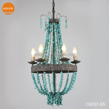 New design 6 lights small turquoise beads chandelier antique wrought new design 6 lights small turquoise beads chandelier antique wrought iron lighting made in china aloadofball Images
