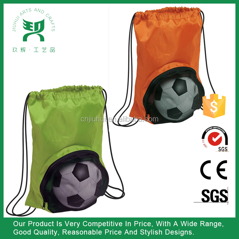 210 D nylon sport ball mesh pocket drawstring backpack bag