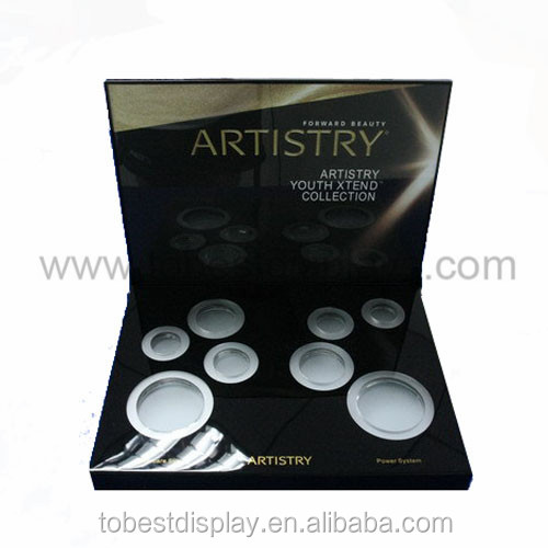 famous cosmetc brand black 8 slots luxury cosmetic product display stands/cosmetic point of sale display manufacturer