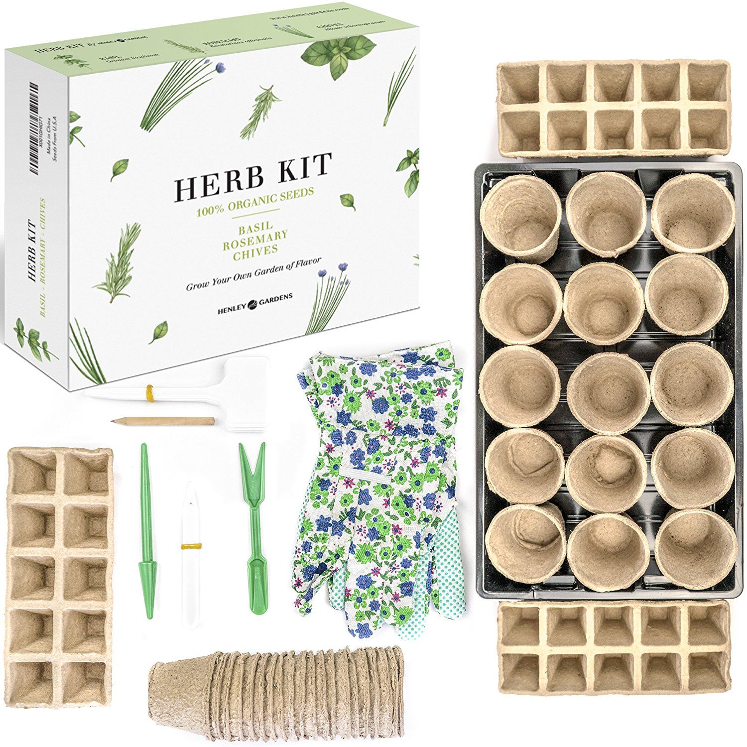 Herb Germination Garden Starter Kit - Kitchen Herbs Garden Kit & Seed Tray - Indoor Seed Grow Kit, Starter Kit for Garden Gifts. Humidity Dome, Biodegradable Seed Cells, Garden Gloves